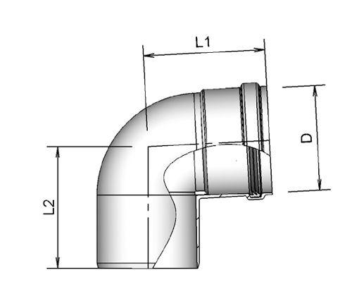 Afbeelding van Burgerhout Alu fix Bocht 80 43 Wit