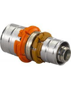 Uponor MLC rechte koppeling verloopkoppeling 20 x 16mm messing (pers x pers)