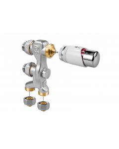 Rechte aansluitset + thermostaatknop 16x2mm kunststof (vloer)